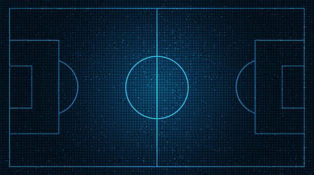 Blaues fußballfeld auf digitalem technologiehintergrund.
