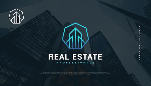 Blaues futuristisches immobilien-logo-design mit linienstil-konstruktion, architektur oder gebäude-logo-design