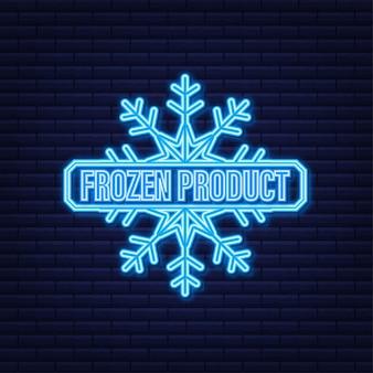 Blaues gefrorenes produktneonsymbol auf blauem hintergrund.