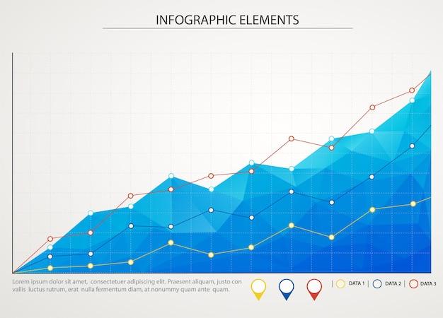 Blaues geschäftsdiagramm mit drei anstiegslinien.
