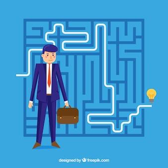 Blaues geschäftskonzept mit labyrinth