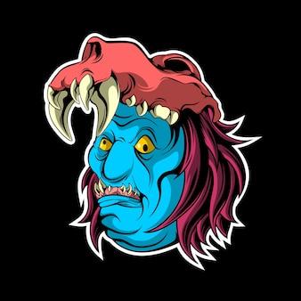 Blaues gesicht monster