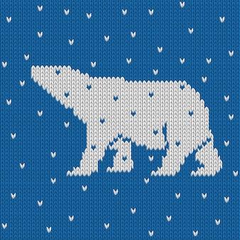 Blaues gestricktes blaues nahtloses muster des winters mit eisbären mit schnee