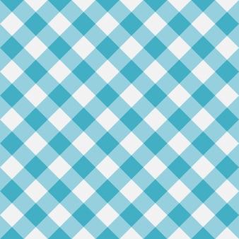 Blaues gingham nahtloses muster diagonalstreifen textur aus raute für karierte tischdecken