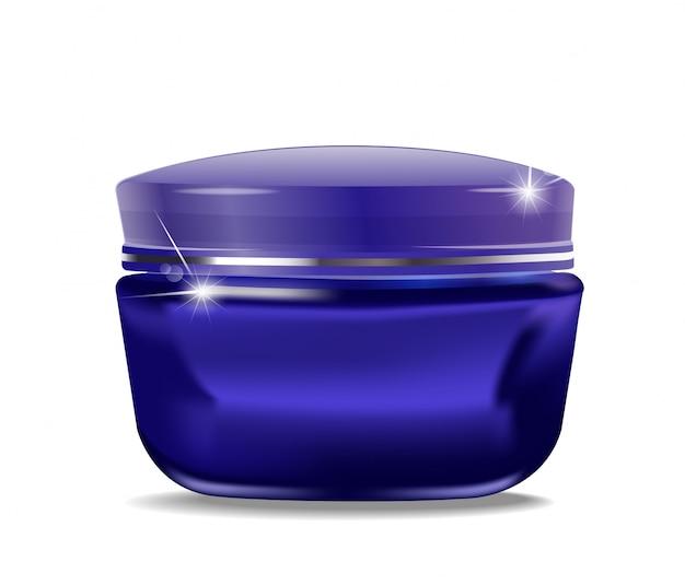 Blaues glas mit kosmetischer creme