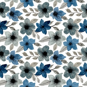 Blaues graues aquarell nahtlose blümchenmuster