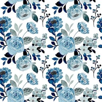 Blaues graues blumenaquarell nahtloses muster