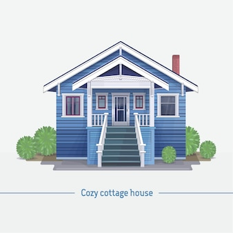 Blaues häuschenhaus