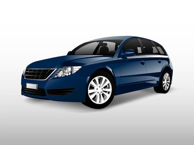 Blaues hatchbackauto lokalisiert auf weißem vektor