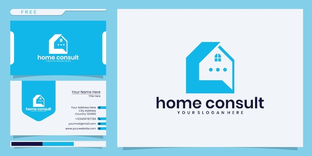 Blaues hausberatungslogo, haus mit blasenchat. logo- und visitenkartendesign