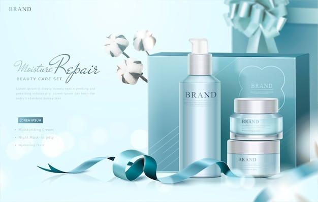 Blaues hautpflege-geschenkset-banner mit anmutig verpackten kisten und baumwollelementen auf selektiver fokusfläche, 3d illustration