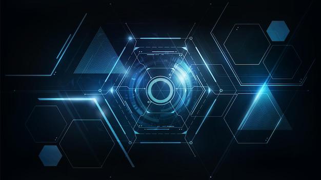 Blaues hexagon abstraktes futuristisches elektronisches schaltungstechnologie-hintergrundkonzept