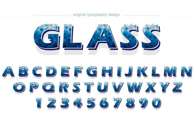 Blaues hexagon-muster-typografie-design