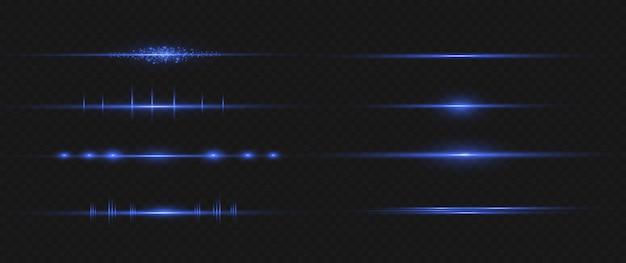 Blaues horizontales linseneffektpaket. laserstrahlen, horizontale lichtstrahlen. schöne lichtfackeln. leuchtende streifen auf dunklem hintergrund.