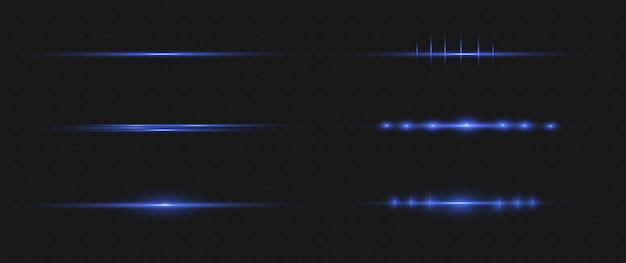 Blaues horizontales linseneffektpaket. laserstrahlen, horizontale lichtstrahlen.