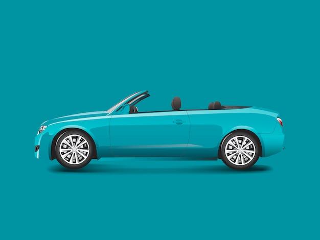 Blaues kabriolett in einem blauen hintergrundvektor