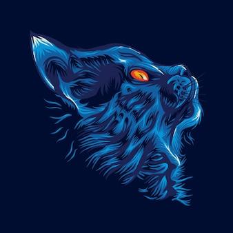 Blaues katzenlogo