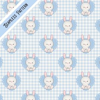 Blaues kawaii kaninchenmuster