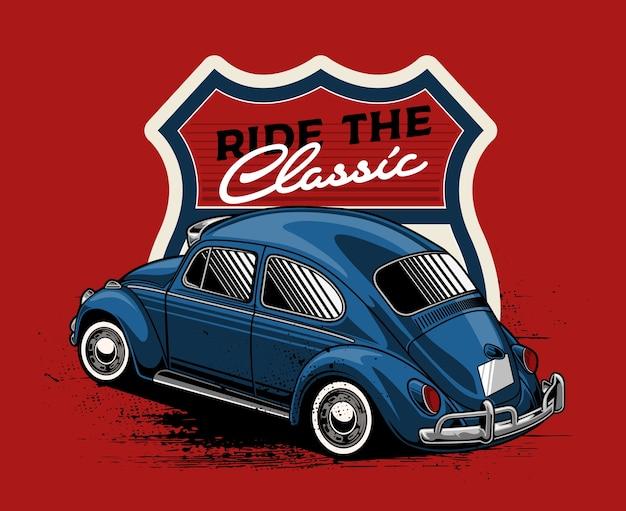 Blaues klassisches auto mit abzeichenhintergrund