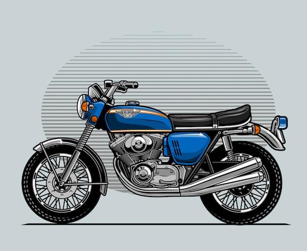 Blaues klassisches motorrad
