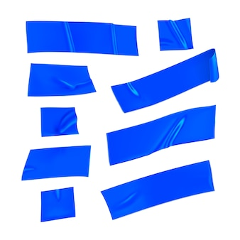Blaues klebeband-set. realistische blaue klebebandstücke zum befestigen lokalisiert auf weißem hintergrund. papier geklebt. realistische 3d-illustration