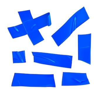 Blaues klebeband-set. realistische blaue klebebandstücke zur befestigung lokalisiert auf weißem hintergrund. klebekreuz und papier geklebt. realistische 3d-illustration