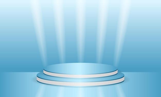 Blaues leeres modell der runden szene d podium oder plattform