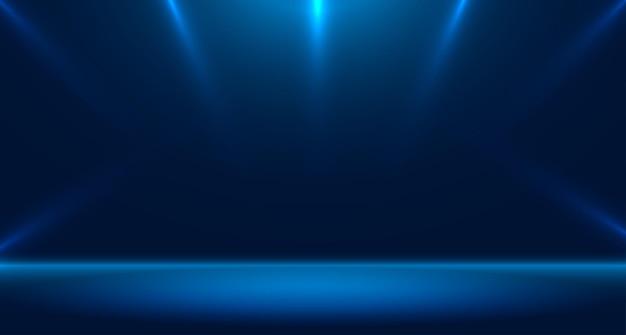 Blaues leeres raumstudio für hintergrund und anzeige von content-design-bannern für werbung