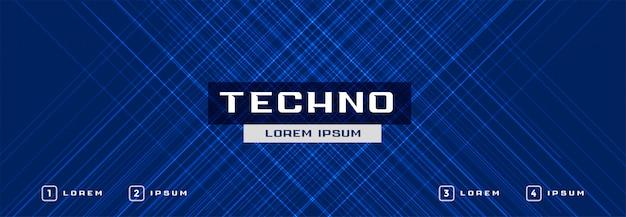 Blaues leuchtendes linienfahnenentwurf der abstrakten technologie
