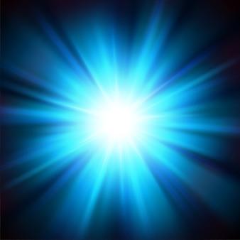 Blaues licht aus der dunkelheit beleuchtet