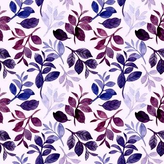 Blaues lila aquarell hinterlässt nahtloses muster
