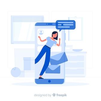 Blaues mädchen, das von einer flachen art des smartphone herauskommt