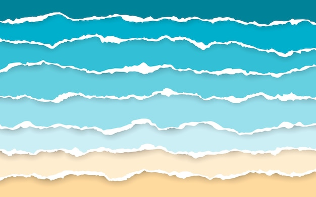 Blaues meer und strand zerrissene papierstreifen. zerrissene quadratische horizontale papierstreifen.