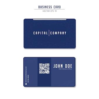 Blaues modernes technologie-visitenkarteschablonendesign der kapitalgesellschaft mit qr code mit niedrigem polynetz zeilendarstellung