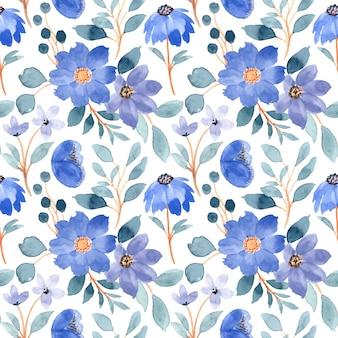 Blaues nahtloses blumenmuster mit aquarell