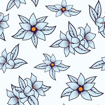 Blaues nahtloses mit blumenmuster lokalisiert mit weißem hintergrund