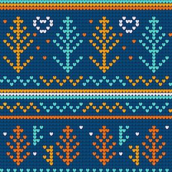 Blaues nahtloses muster der weihnachtshässlichen strickjacke
