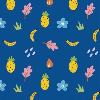 Blaues nahtloses muster mit früchten und blumen