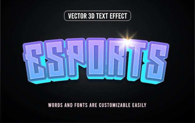 Blaues neon-esport-gaming 3d-bearbeitbarer texteffektstil