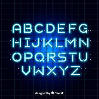 Blaues neonalphabet