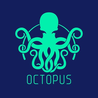 Blaues oktopus-logo-konzept