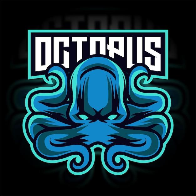 Blaues oktopus-maskottchen-gaming-logo