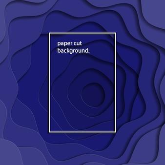 Blaues papier schnitt mehrschichtigen bunten realistischen hintergrund.
