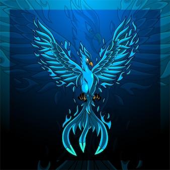 Blaues phoenix-esport-maskottchen-logo-design