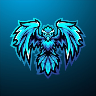 Blaues phoenix esport maskottchen logo