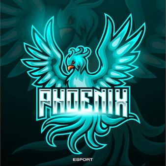Blaues phönixvogel-esport-logo-design