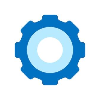 Blaues piktogramm, zahnradsymbol. einfaches flaches design. flache vektorkonzeptillustration lokalisiert auf weißem hintergrund