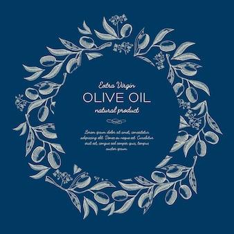 Blaues plakat der abstrakten natürlichen skizze mit rundem kranz von olivenbaumzweigen und -text