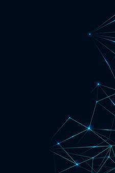 Blaues polygon auf dunklem hintergrund