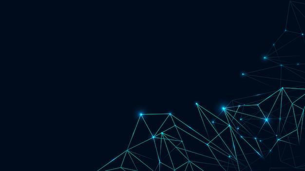 Blaues polygon auf sozialer vorlage des dunklen hintergrundes